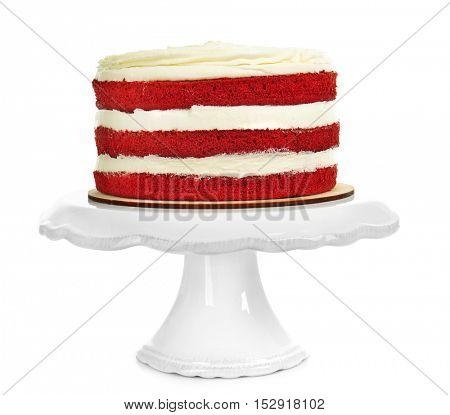 Delicious cake on white background