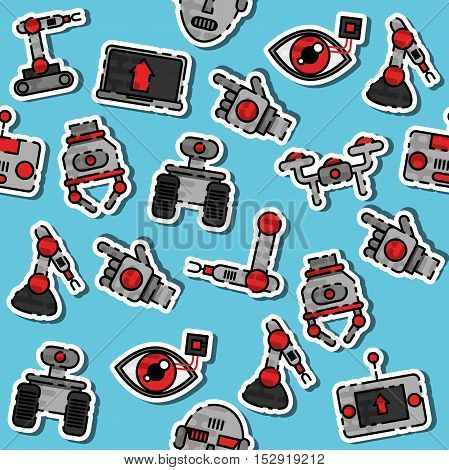Colored robotic pattern. Vector illustration EPS 10