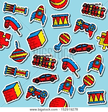 Colored toys pattern. Variety of childrens toys. Vector illustration, EPS 10