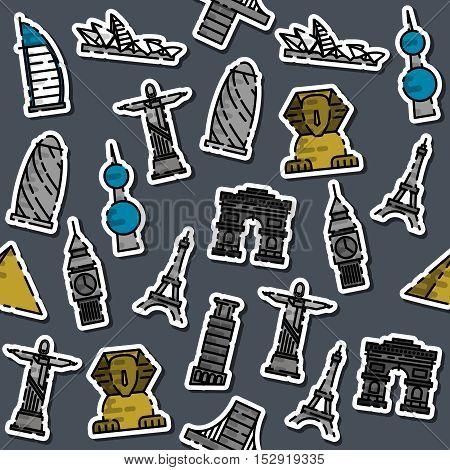 Colored World landmarks pattern. Vector illustration, EPS 10