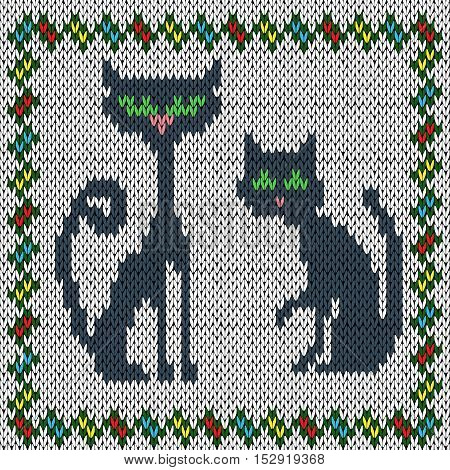 Knitting childish fabric vector pattern with two grey cats and with ornamental colourful frame