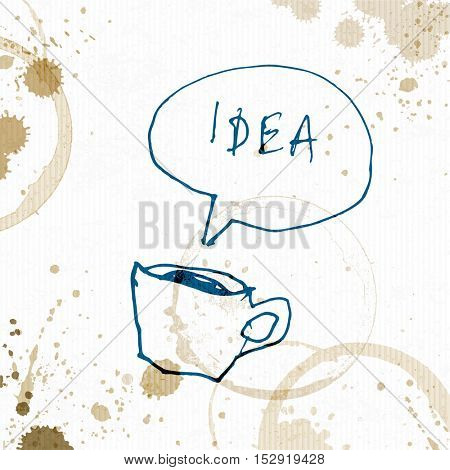 Coffee cup with Idea word. Creative concept. Hand drawn vector illustration