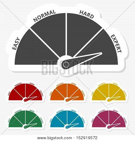 Multicolored paper stickers - Speedometer icon on gray background