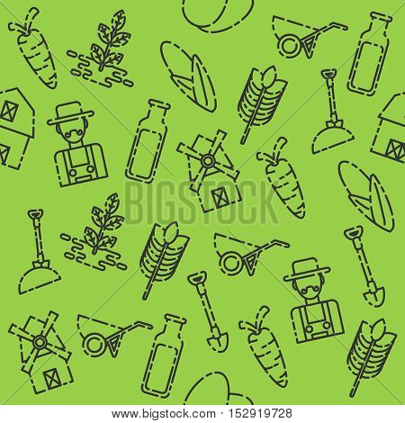 Farm pattern with buildings trees animals products and characters in vector illustration