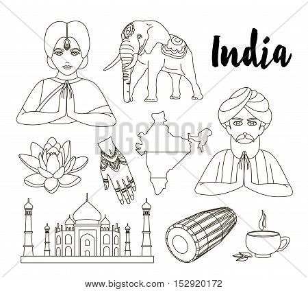 Country India travel vacation guide of goods, place and feature. Set of architecture, fashion, people, item, background concept.