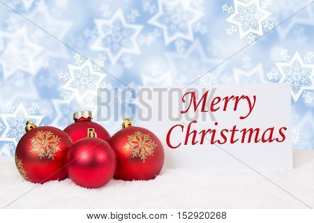 Red Merry Christmas Balls Winter Snow Card Wishes