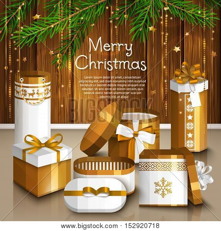 Christmas card with pile of white and golden wrapped gift boxes. Garland made from fir branches and gold vibrant lines. Wooden background.