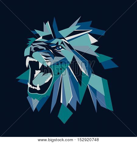 Vector illustration of geometric lion head on dark background.
