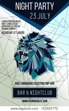 Night club flayer template with roaring lion. Triangular background. Vector illustration.