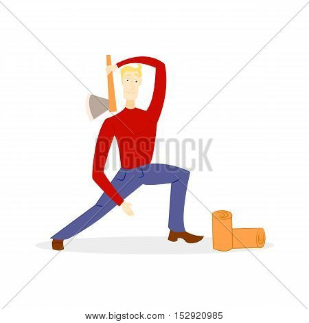 Lumberjack with an ax, chopping wood in the style of a cartoon isolated on white background