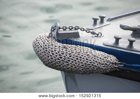 Vintage Style Picture Of Beautiful Sail Boat Details. Rope, Hull, Rigging Sailing Yacht Background