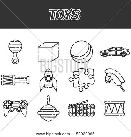 Toys icon set on white background, Vector illustration