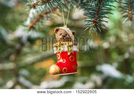 Teddy Bear And Red Sock, Christmas Toy On A Christmas Tree