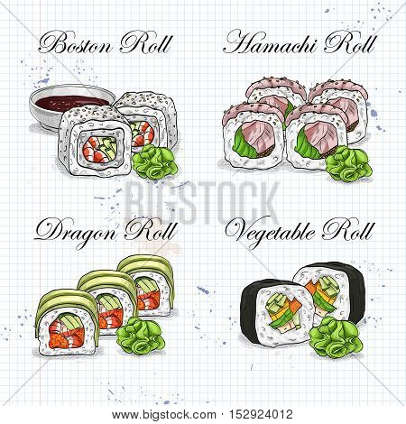 Vector sushi roll sketch and color, set of four types of rolls on a notebook page