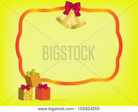 Christmas yellow background with red ribbon gifts and bow