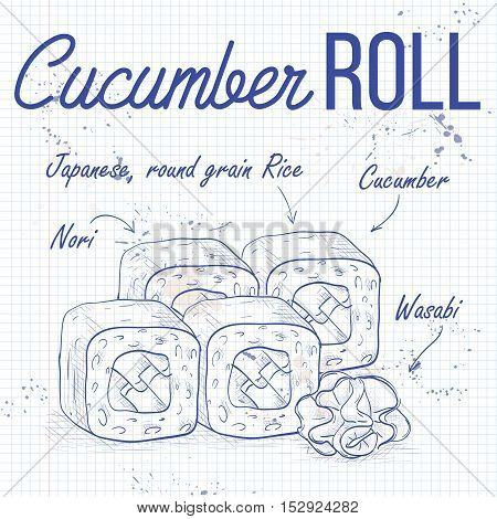 Vector sushi roll sketch, Cucumber Roll recipe on a notebook page