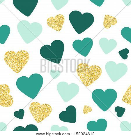 Seamless pattern background with gold glitter and green hearts. Love concept. Cute wallpaper. Good idea for your Wedding, Valentine's Day or Birthday design. Vector illustration