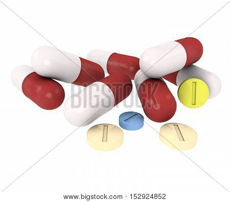pills and capsules on white background or medical purposes