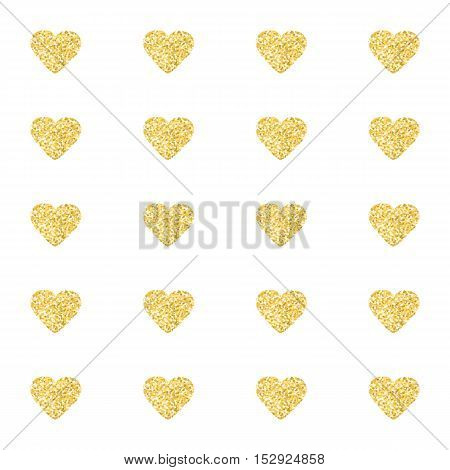 Seamless pattern background with gold glitter hearts. Love concept. Cute wallpaper. Good idea for your Wedding, Valentine's Day or Birthday design. Vector illustration