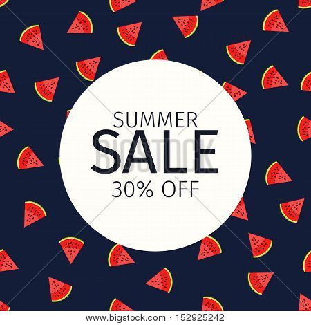 Web banner or poster for e-commerce, shop, store with watermelon slice style background. Summer sale. Vector illustration.