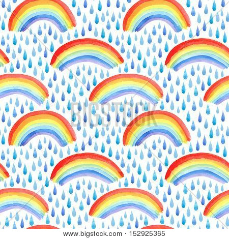 Seamless pattern with rain drops and rainbow.Watercolor hand drawn illustration.White background.