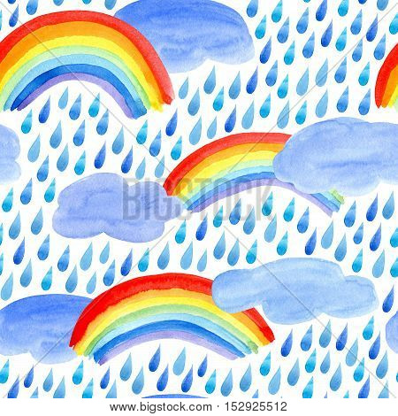 Seamless pattern with rain drops,clouds and rainbow.Watercolor hand drawn illustration.White background.