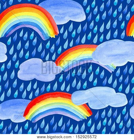 Seamless pattern with rain drops,clouds and rainbow.Watercolor hand drawn illustration.Dark blue background.
