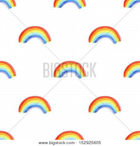 Seamless pattern with rainbow.Watercolor hand drawn illustration.White background.