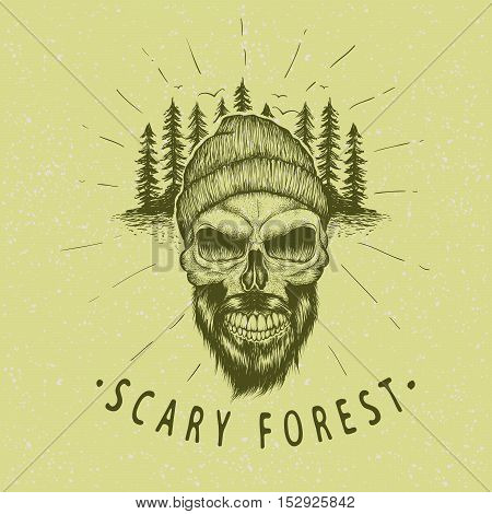 Skull-lumberjack. Scary forest.Typography design.Hand drawn vector illustration