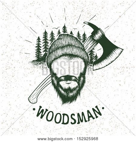lumberjack with ax on forest background.Vector hand drawn illustration