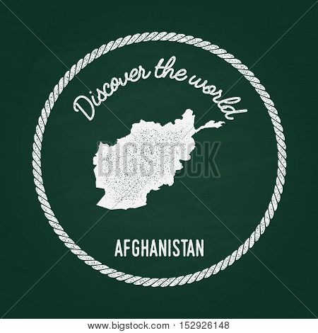 White Chalk Texture Vintage Insignia With Islamic State Of Afghanistan Map On A Green Blackboard. Gr