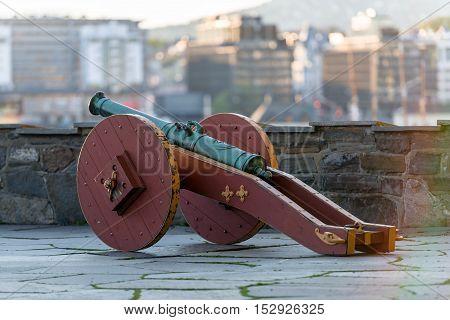 decorative cannon at the castle closeup photo