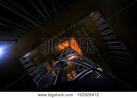 Clock tower interior with elevator angle shot