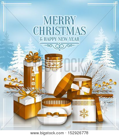Merry Christmas card with pile of white and golden wrapped gift boxes, fir branches and yellow berries. Snowy landscape. Scandinavian pattern.