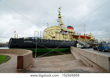 08.07.2016.Russia.Saint-Petersburg.The first icebreaker Krasin is on the waterfront of the city.Now it is a Museum.