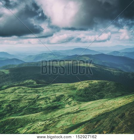 Beautiful Carpathian mountains in summer time. Svidovets range, Ukraine, Europe. Toned like Instagram filter