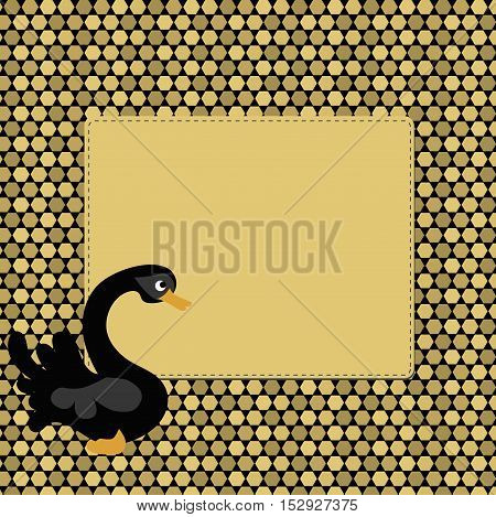 Beautiful Golden pixel background frame with black Swan. Pattern to decorate greetings or decorative album or scrapbook. festive vector illustration