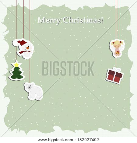 Christmas background poster with decorative Christmas elements stickers. Pattern to decorate greetings cards or decoration of an album page or scrapbook. Baby vector illustration