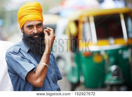 Indian auto rickshaw tut-tuk sikh driver man