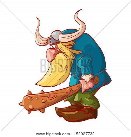 Colorful vector illustration of a cartoon dwarf warrior wearing a horned helm armed with a big club.