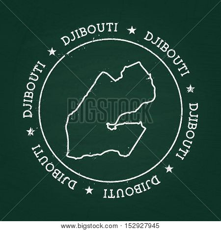 White Chalk Texture Rubber Seal With Republic Of Djibouti Map On A Green Blackboard. Grunge Rubber S