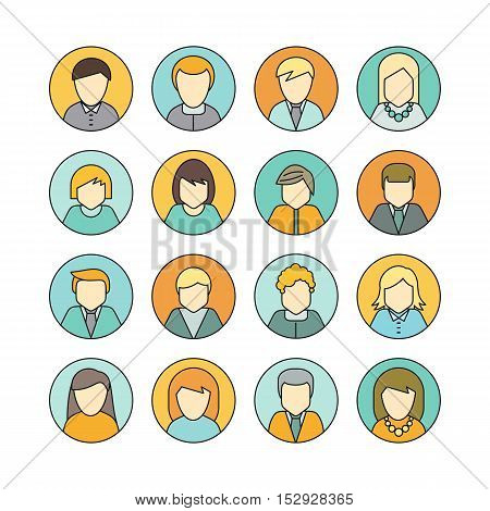 Set of man and woman private round avatar icon. Social networks business private users avatar pictogram. Round line icon. Isolated vector illustration on white background.