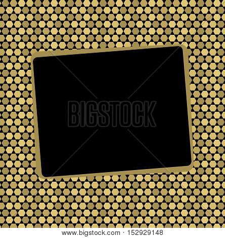 Beautiful Golden pixel background with a black square frame. Pattern to decorate greetings or decorative album or scrapbook. festive vector illustration