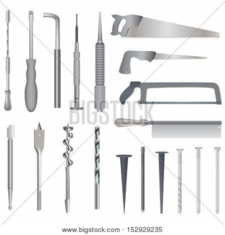 Set of repair tools, realistic illustration for web or typography magazine, brochure, flyer, poster , EPS 10. White background.