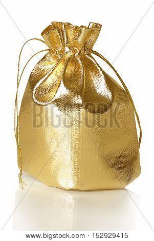 golden gift bag on a white background