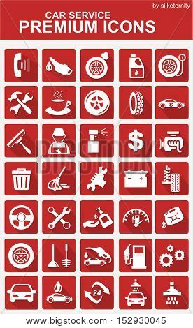 Car icon set wash automobile red background
