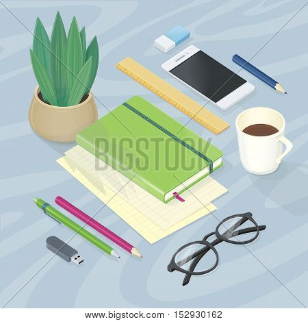 Table accessories. Notebook glasses pen pencil driver, ruler rubber cup of coffee. Top view of workplace with office supplies, digital devices and documents. Vector illustration in flat style