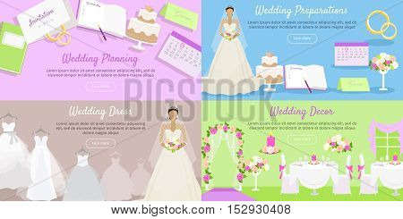 Wedding planning, wedding preparation, decor dress web banner. Event decoration holiday and plan tradition and fashionable, white clothes, clothing fashion, celebration invitation. Vector illustration