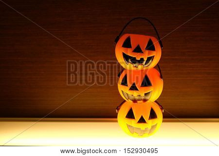 jack-o'-lantern on the table in halloween decoration