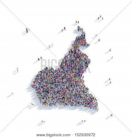 Large and creative group of people gathered together in the form of a map Cameroon, a map of the world. 3D illustration, isolated against a white background. 3D-rendering.